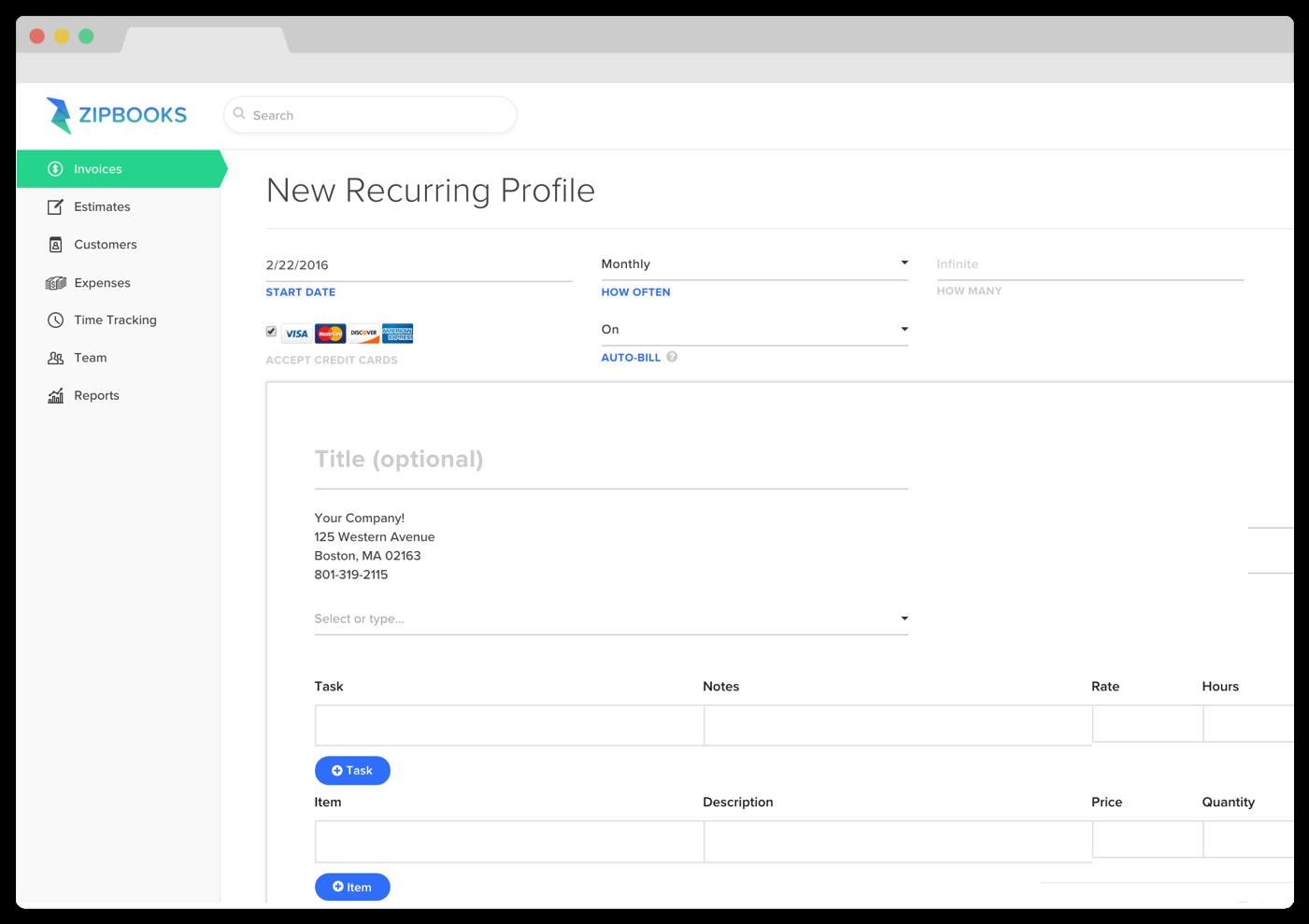 Product Update Recurring Billing Custom Rates ZipBooks - Quickbooks recurring invoice