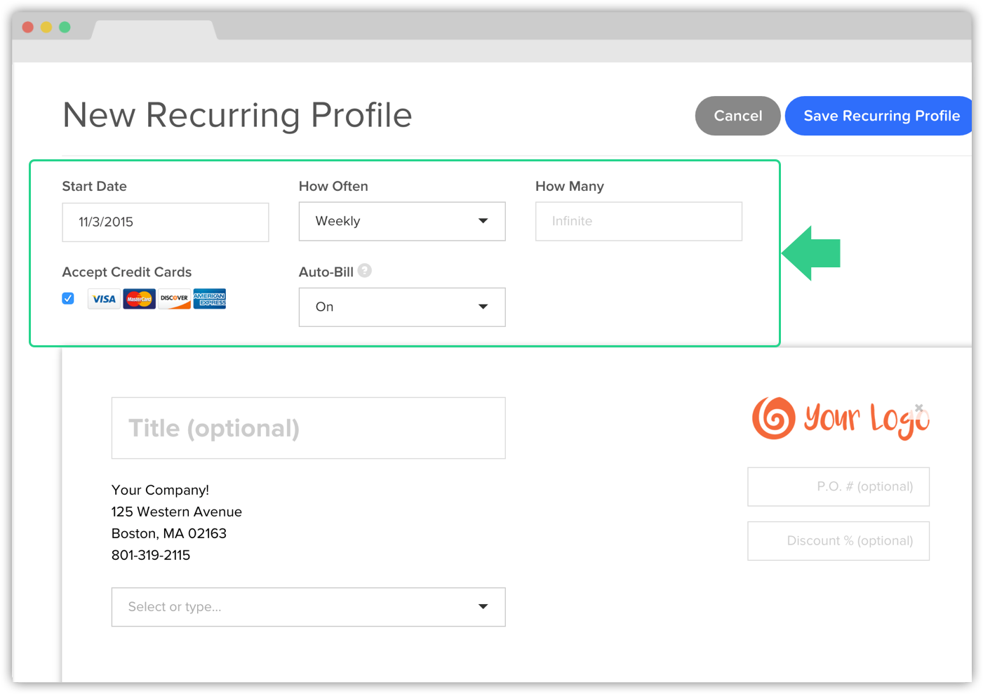 High Quality After Reviewing Your Recurring Invoice, Click Save Recurring Profile On The  Top Right Hand Corner. Your Invoice Will Send According To The Start Date  You ... To How To Set Up An Invoice